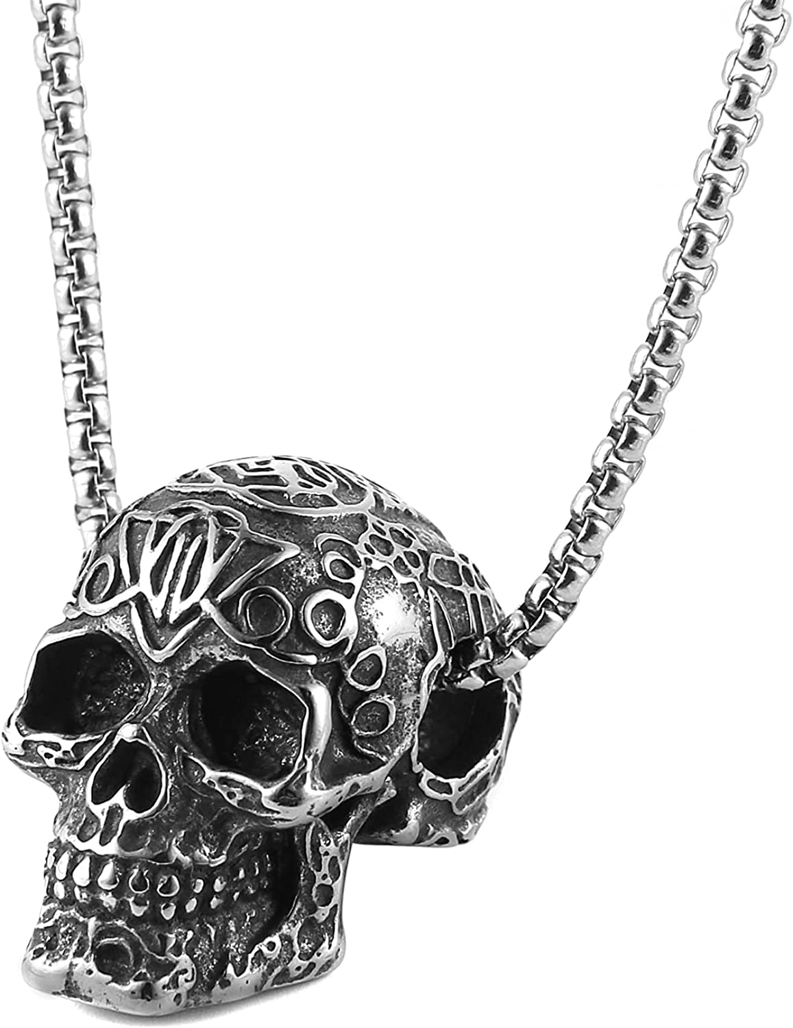 Scddboy Stainless Steel Retro Gothic Skull Style Cocktail Party Biker Pendant Necklace