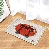 Cdhbh Décor traditionnel japonais aquarelle Torii Gates et rouge Soleil levant Tapis de bain antidérapant Sol réception extérieur/intérieur Porte avant Tapis enfants Tapis de bain 40x60cm