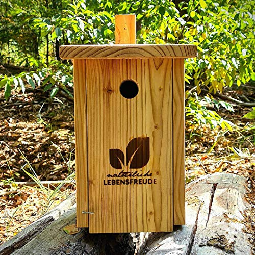 Natürliche Lebensfreude - Nistkasten für Spatzen nach NABU aus Deutschland inkl. 2 Alu Nägel -100% Handarbeit - Lärche Massivholz aus dem Schwarzwald - Einflugloch 32mm - Vogelhaus