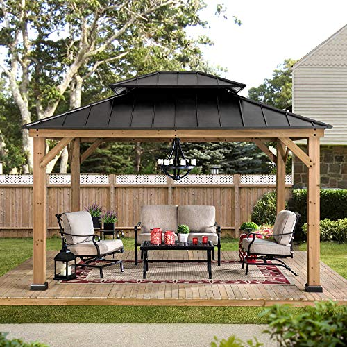 Sunjoy Bridgeport 11 x 13 ft. Cedar Framed Gazebo with Steel Hardtop, Black