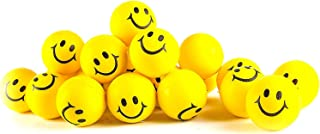 """Stress Balls for Kids and Adults - Bulk Pack of 24 2"""" Stress Smile Squeeze Balls - Neon Yellow Funny Face Stress Balls"""
