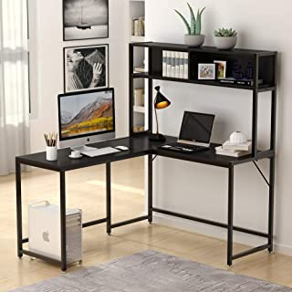 Tribesigns L-Shaped Desk with Hutch,55 Inch Corner Computer Desk Gaming Table Workstation with Storage Shelves Bookshelf for Home Office .Black