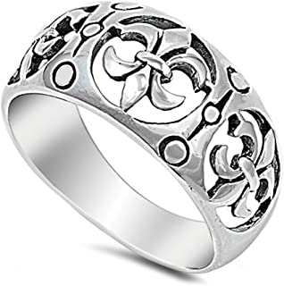 Filigree Fleur De Lis Cutout Wide Ring New .925 Sterling Silver Band Sizes 5-10