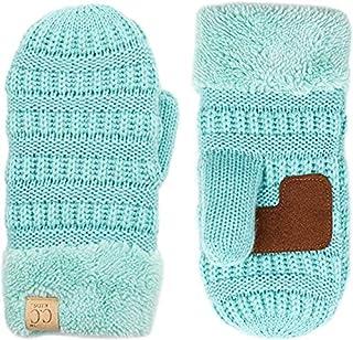 Mittens Kids Girls Fuzzy Lined Gloves - Mint