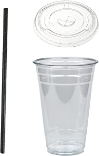 Disposable 20 oz Plastic Crystal Clear Cups with Flat Lids and Black Paper Straws - For Summary Beverage, Party, to-go (50)
