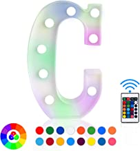 ZRO LED Letter Lights 16 Colors-Changing, 3D Night Lamp 26 Alphabet A-Z LED Marquee Sign with Remote Control for Christmas Decor Birthday Party Home Wall Hanging Bedroom Bar Decor (C)