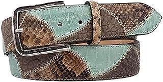 ESPERANTO Cintura pitone, cuoio e pelle, fodera vero cuoio nabuk, artigianale Made in Italy 4 cm unisex accorciabile