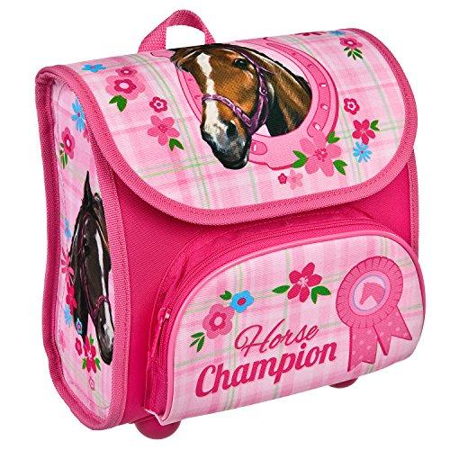 Scooli HCAM8240 - Vorschulranzen Cutie mit Klettverschluss, ergonomisch, leicht, Horse Champion, ca. 4,5 Liter