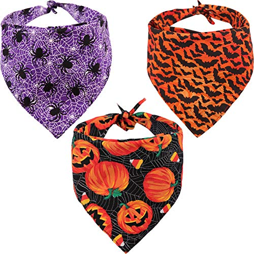 KZHAREEN 3 PCS/Pack Halloween Dog Bandana Pumpkin Reversible Triangle Bibs Scarf Accessories for Dogs Cats Pets Large