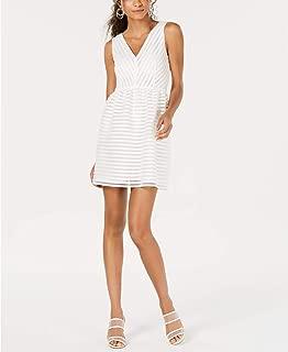 Bar III Sleeveless Illusion-Stripe Fit & Flare Dress, Bright White