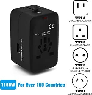 Universal Travel Adapter,All-in-one International Power Adapter Wall Charger AC Power Plug Adapter with 2.1A Smart USB,European Adapter with Charging Ports for UK,EU,AU,Asia Covers 150+Countries
