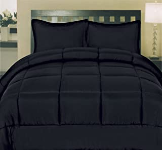 Sweet Home Collection White Goose Down Alternative Comforter, Black, Queen