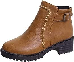 حذاء نسائي برقبة واحدة بزر سادة حتى الكاحل ❀ للسيدات مقاس إضافي بكعب منخفض سميك