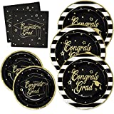 Gift Boutique Graduation Plates and Napkins 2020 for 50 Guests Disposable Dinnerware Set in Black...