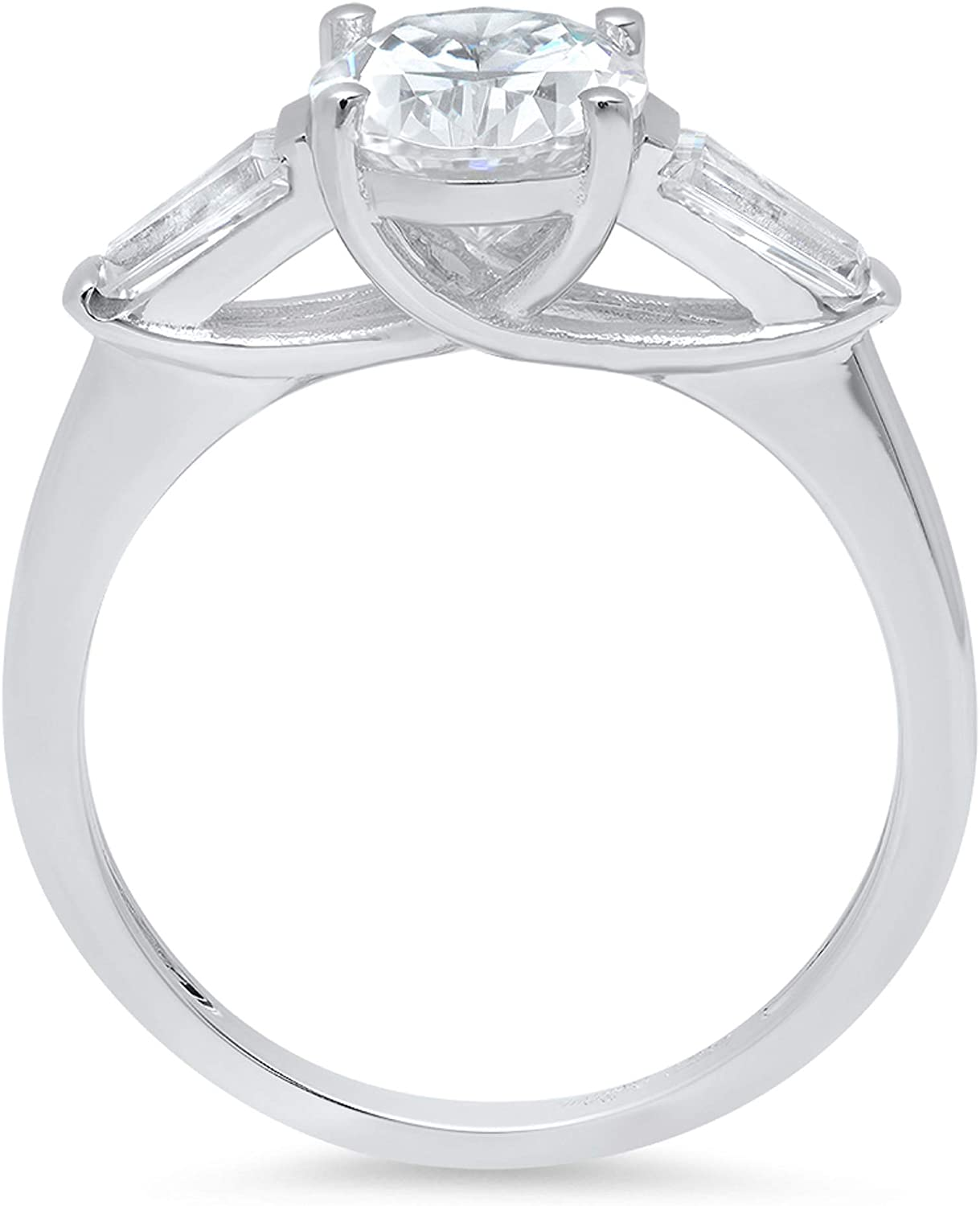 2.47ct Oval Baguette cut 3 stone Solitaire with Accent Genuine White lab created Sapphire Ideal VVS1 D & Simulated Diamond Designer Modern Statement Ring Solid 14k White Gold Clara Pucci