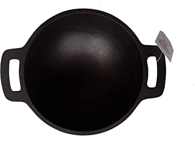 Qualy Investo Traditional Cast Iron Very Small Kadai Kadhai woks for Cooking- Small Size (6.8 Inches Dia, 1.2 Kg Weight)