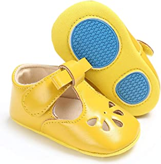 Baby Girls Mary Jane Flats with Bowknot Non-Slip Infant Sandals Toddler First Walkers Princess Dress Shoes