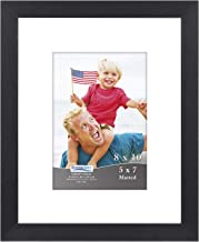 Icona Bay 8x10 Picture Frame Matted for 5x7 Photos (1 Pack, Black), Sturdy Wood Composite Frame, Tabletop and Wall Hang Hooks Included, Document Frame, Liberty Collection
