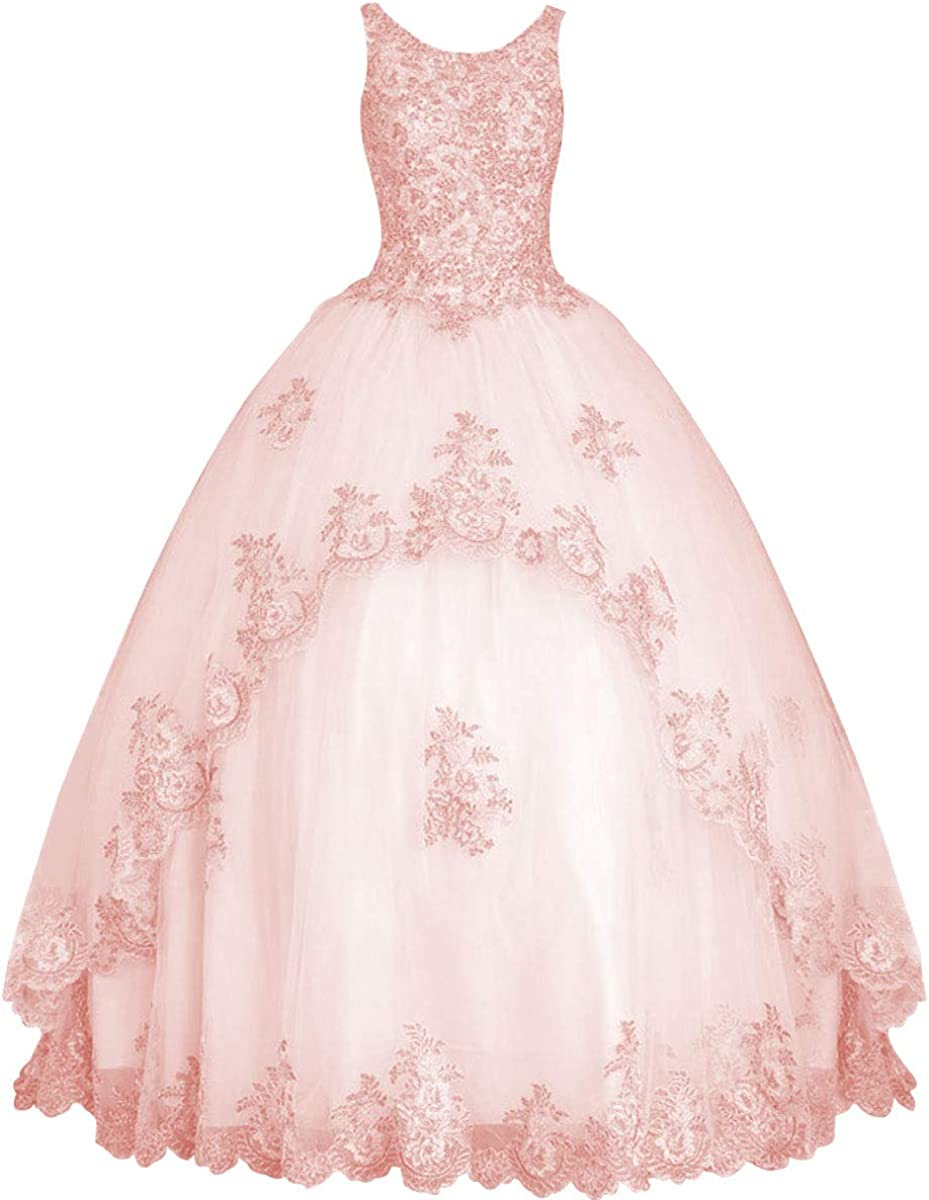 Prom Dress Tulle Quinceanera Dresses Long Formal Evening Gowns Lace Appliques Sleeveless Prom Dresses