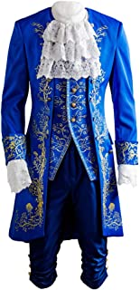 Beauty and The Beast Prince Dan Stevens Blue Uniform Cosplay Costume Outfit Suit