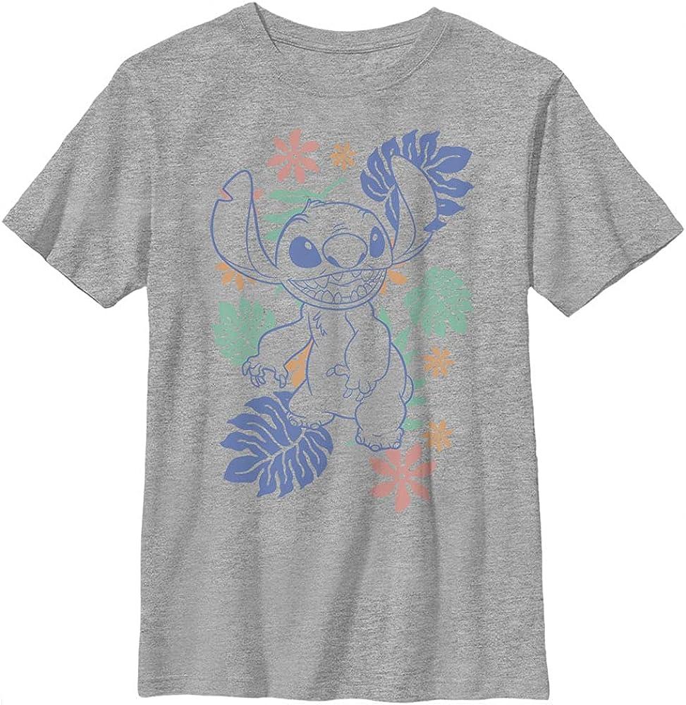 Disney Lilo & Stitch Retro Tropical Tonal Stitch Boy's Heather Crew Tee