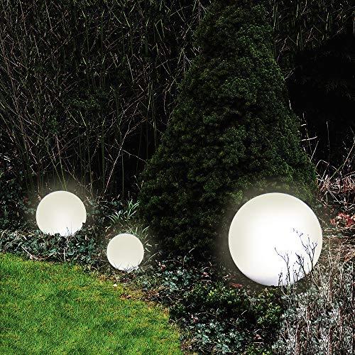 Dapo Außen-Garten-Kugel-Leuchte-Lampe 3er Set (30+30+40cm) Marlon IP44 mit Erdspieß Dekorations-Stimmungs-Party-Boden-Rasen-Terrassen-Balkon-Teichrand-Wege-Treppe-Leuchte-Lampe