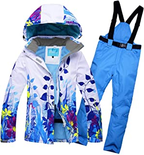 Women's Windproof and Waterproof Snowboard Colorful Ski Jacket and Pants Set