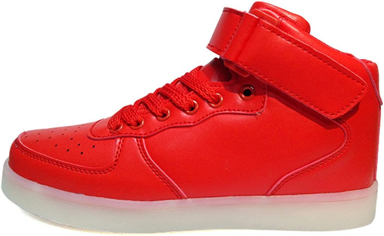 PLAN B High Top LED shoes Light up USB Charging Flashing Sneakers for Women Men-(Red-8.5 B(M) US Women 6 D(M) USmen)