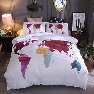 FlowersER Juego de Funda nórdica Mapa del Mundo de Acuarela con Funda de Almohada Tinta salpicada Colcha de Cama de Arte Colcha de Graffiti Colorida Juego de edredón (Size : EU-Double(200X200cm))