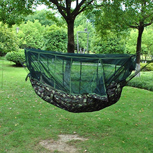 PPPERT Hangmat met muggennet, hemelgordijn, hangmat voor regen en zon en camping, maximaal gewicht 150 kg, 190 x 70 cm, camouflagekleur