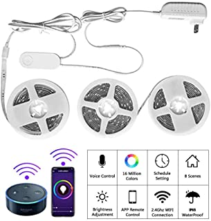 BRTLX Smart Led Strip Lights,WiFi Wireless Smart Phone APP Controlled, 5050 Waterproof IP65,RGBW Color Ambiance Dimmable Light,Compatible with Alexa, Android/iOS,Google Assistant,29.52ft (3 x 9.85ft)