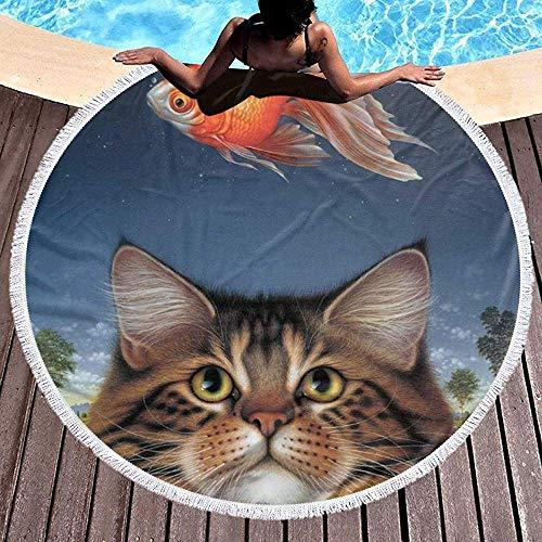 Duanrest Strandtuchdecke Wildlife Art Katzenfutter Heute Goldfisch Katatonischer Sonnenuntergang Extra große Outdoor-Reise Schwimmdecke Yogamatte Erwachsene