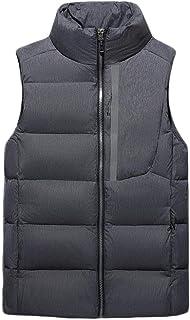 メンズダウンベストウォームノースリーブジャケットダウンコットン軽量パッキングトラベルアウタージッパー (色 : 暗灰色, サイズ さいず : M)