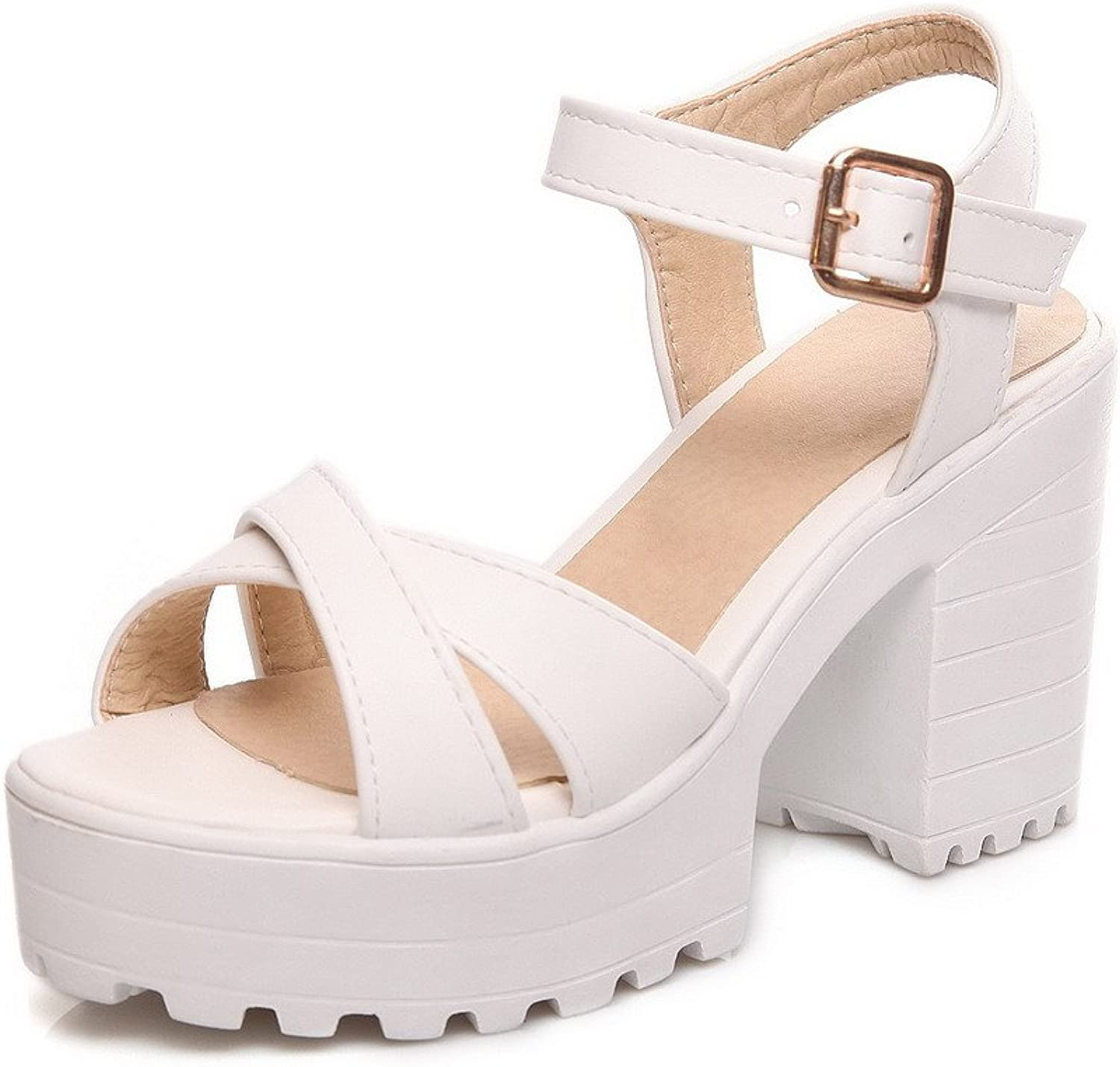AllhqFashion Women's High Heels Solid Buckle Soft Leather Open Toe Heeled-Sandals
