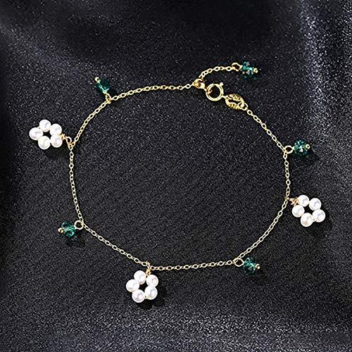 SBKJL Pulsera De Plata Esterlina para Mujer con Perlas Naturales Pulseras De Piedras Preciosas De Esmeralda Verde para Regalo De Fiesta Color Dorado