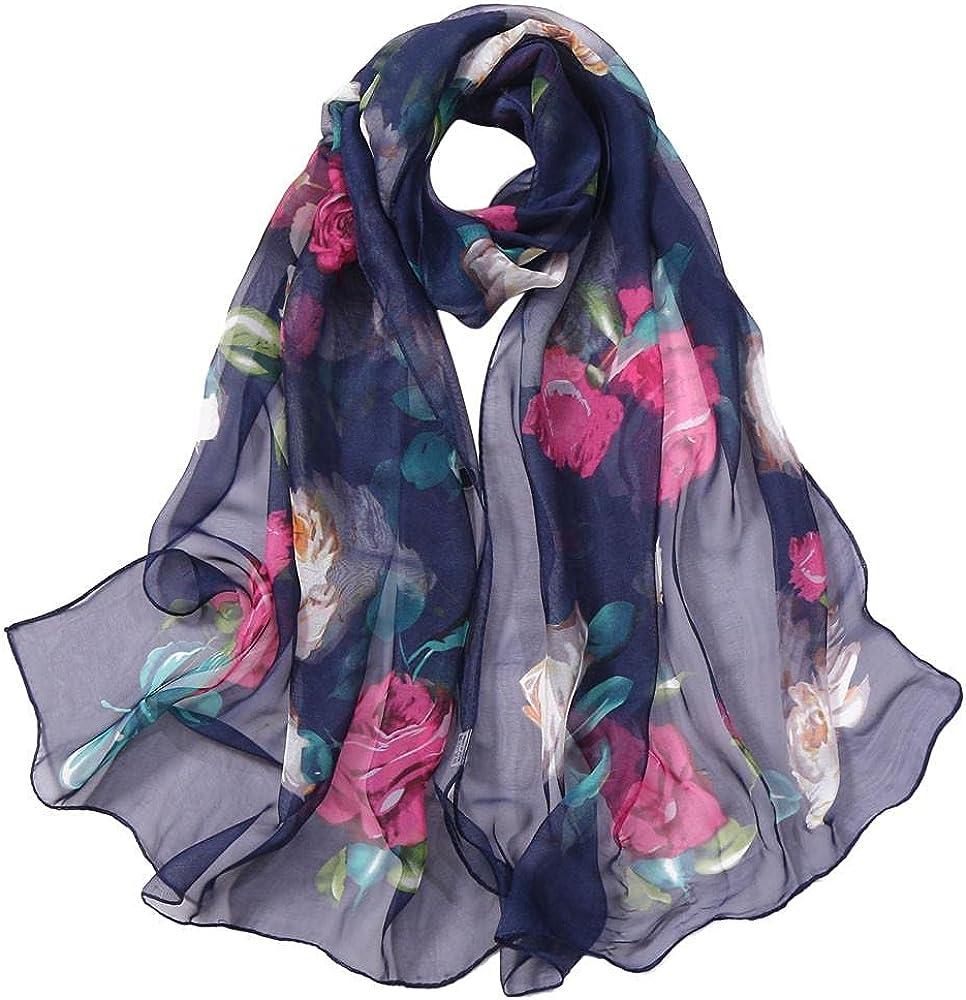 Limsea Chiffon Scarves for Women Floral Print Lightweight Sheer Scarf Outdoor Fashion Simulation Silk Wrap Shawl