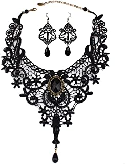 Black Lace Choker Beads Chain Gothic Lolita Pendant Vintage Princess Party Necklace Earring for Women