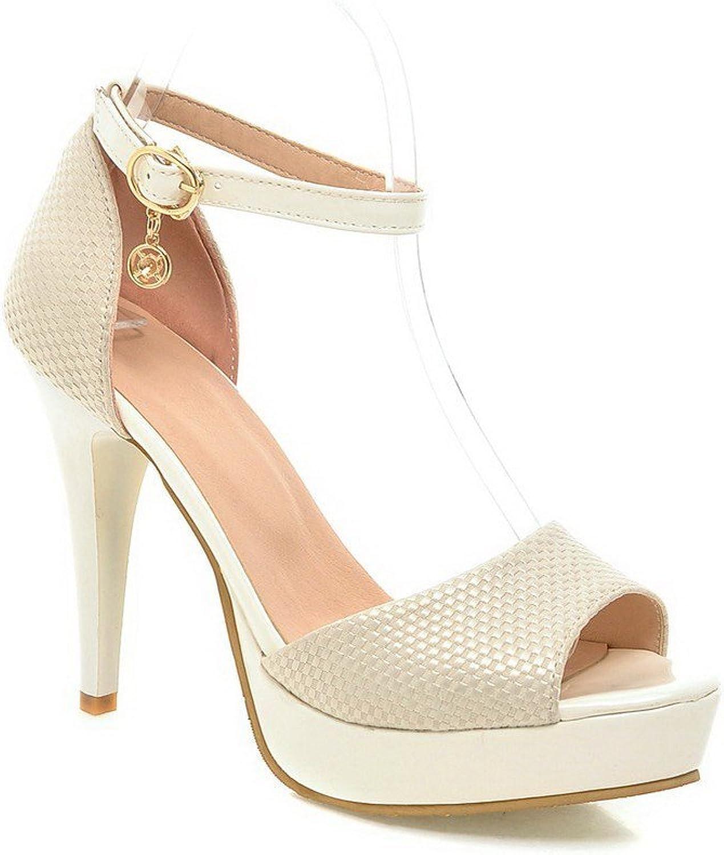 AllhqFashion Women's Buckle Open Toe High-Heels Blend Materials Solid Heeled-Sandals