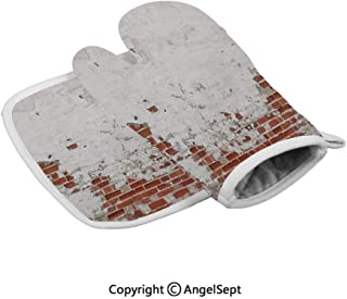 Dated Damaged Peeling Wall Covered with White Paint Vintage Inspired City Scene,Fashion Insulated Gloves+Insulated Square Mat,Red,Heat Resistant Kitchen,BBQ,Cooking,Baking