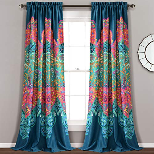 "Lush Decor Boho Chic Room Darkening Window Curtain Panel Pair, 95"" x 52"" + 2"" Header, Turquoise and Navy, Turquoise & Navy"