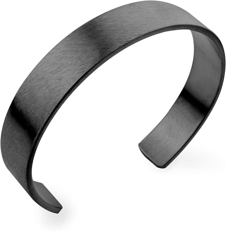 555Jewelry Stainless Steel Matte Open End Wide Cuff Unisex Bracelet Bangle