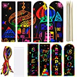 ZMLM Scratch Paper Art Bookmarks Kids: 36 Set 2 Style Magic Rainbow DIY Bookmark Art Craft Paper Bookmark Gift Tag Party Favor Pack Activity Bulk Making Kit for Boys Girls Birthday Game