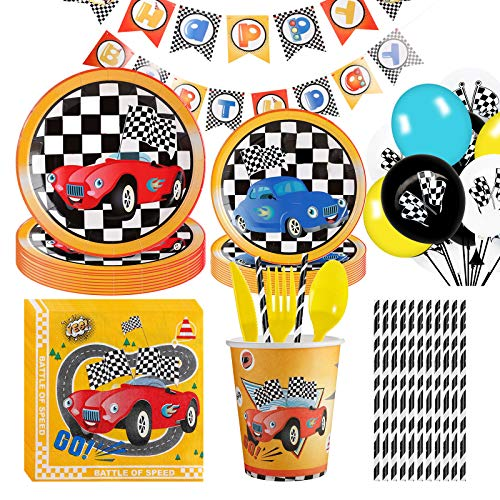 NAL Race Car Birthday Party Supplies, 138Pcs Race Car Party Tableware Set for Boys Birthday Disposable Paper Plates ,Cups ,Napkins ,Racing Car Banner Balloons Serves 12 Guests