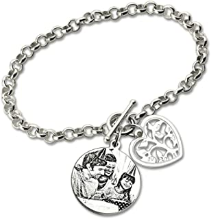 Custom Photo Bracelet Family Tree Pendant Sterling 925 Sterling Silver Photo Engraved Chain Bracelet Picture Gifts