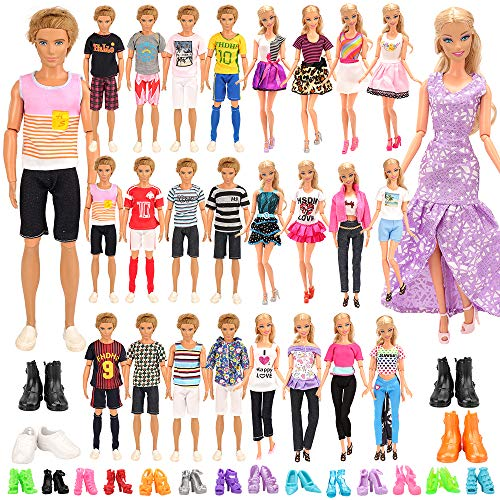 Miunana Lot 34 Puppenkleidung = 10 Freizeitbekleidung Set + 4 Paar Schuhe für Jungen Puppen + 10 Kleider + 10 High Heels für 11,5 Zoll Mädchen Puppen