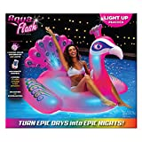 Aqua Oversized 6 Foot, LED Inflatable Peacock Pool Floatie, 4 Mode 16-Color LED Light-Up, Ride On Pool Float, Fun Party Float