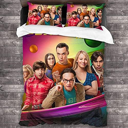SL-YBB The Big Bang Theory - Juego de cama infantil de 3 piezas, microfibra, para todas las estaciones, se adapta a la piel (1,200 x 200 cm + 50 x 75 cm x 2)