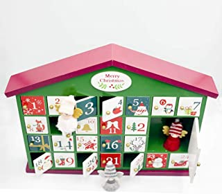 Eilane Cute Wooden Christmas House Christmas Countdown Calendar Box Candy Gift for Children Christmas Storage Ornament New Arrival