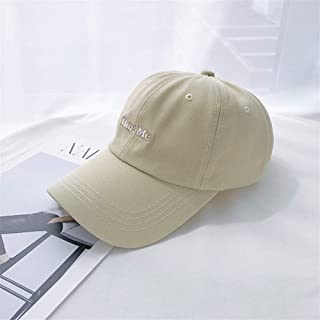 Lei Zhang Chic Wind Mint Green Letter Embroidery Baseball Cap Female Leisure Wild Influx of People was White Male Child Soft-top Cap (Color : HugBeige, Size : One Size)