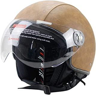 Woljay Leather Motorcycle Vintage Half Helmets Motorcycle Biker Cruiser Scooter Touring Helmet (L, Brown)